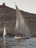 Felucca Sailing on the River Nile Near Aswan  Egypt  North Africa  Africa