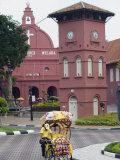 Rickshaw and Christ Church  Town Square  Melaka (Malacca)  Melaka State  Malaysia  Southeast Asia