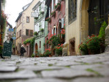 Street Scene  Riquewihr  Alsace  France  Europe