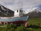 Fishing Boat on Land  Eyjafjordur  Iceland  Polar Regions