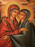 Greek Orthodox Icon Depicting the Visitation  Thessaloniki  Macedonia  Greece  Europe