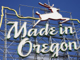 Made in Oregon Sign in Old Town District of Portland  Oregon  United States of America