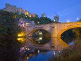 Illuminated Castle and Cathedral across the River Wear  Durham  County Durham  England  UK