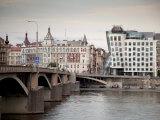 East Bank of Vltava River with Dancing House and Jiraskuv Bridge  Prague  Czech Republic
