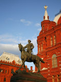 Statue of Marshal Georgy Zhukov by the Historical Museum at Manezhnaya Square  Moscow  Russia