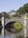 Niju Bashi Bridge Reflecting in Moat  Imperial Palace  Tokyo  Japan  Asia