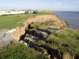 Coast Erosion with Active Landslips  Glacial Till  Aldbrough  Holderness Coast  Humberside  England