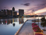 Marina Promenade at Sunrise with Singapore Flyer  Singapore  Southeast Asia  Asia