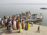 Boat on the River Ganges While a Cremation Takes Place  Varanasi  Uttar Pradesh State  India