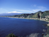 View of Taormina with Mount Etna in the Background  Giardini Naxos  Sicily  Italy  Europe