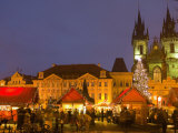 Old Town Square at Christmas Time and Tyn Cathedral  Prague  Czech Republic  Europe
