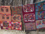 Molas Hanging Up for Sale Outside Thatched House  Isla Tigre  San Blas Islands  Panama