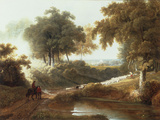 Landscape at Sunset with Drovers and Sheep on a Path