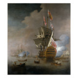 A Royal Party approaching a Flagship of the Red with Numerous Other Craft at Sea