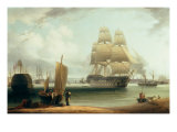 HMS Victory and HMS Prince in Portsmouth Harbour
