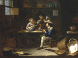 Kitchen Interior with Peasants Smoking and Drinking around a Table  1655