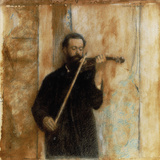 A Portrait of Achille Lerminiaux Playing the Violin  1885