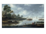 A River Estuary with Fishermen and Other Figures in Boats  the Town of Haarlem Beyond  1675