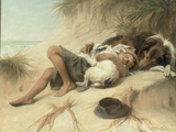 A Child Sleeping in the Sand Dunes with a Collie  1905