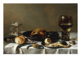 A Banketje Still Life with a Roemer  a Mounted Salt-Cellar  Pewter Plates with a Roast Chicken