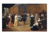Interior with a Music Party and an Elegant Couple Dancing