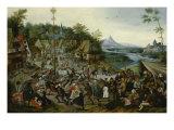 Peasants dancing around a Maypole