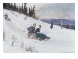 Norwegians Sledding in the Snow