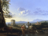 An Italianate Landscape with Peasants and a Pack Mule Watering  probably 1660s