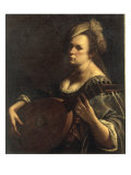 A Portrait of a Woman playing the Lute  possibly a Self-Portrait of the Artist  c1615