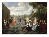 Elegant Company Dancing and Conversing on the Terrace of a Country House