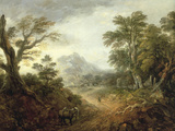 Wooded Landscape with Figures  Bridge  Donkeys  Distant Buildings and Mountain