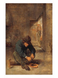 A Peasant eating Mussels in an Interior