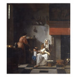 An Interior with a Woman  a Child and a Servant