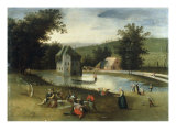 A Landscape with Gentlefolk Feasting  a Moated Castle in the Background