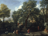 A Classical Landscape with Figures Bathing in a Pond