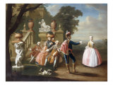 Elegant Figures Making Music and Dancing in the Grounds of a Palace 1745