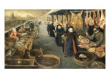 A Meat and Fish Market in Winter