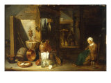 An Interior with a Woman Seated beside an Arrangement of Utensils