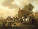 A Detachment of Cavalry with a Coach and other Soldiery outside a Harbourside Inn  1777