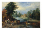 Village Landscape with Farmers unloading their Produce  with Cattle drinking from a Stream