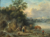 A Landscape with Peasants and Cattle by a River
