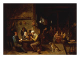 A Farmhouse Interior with Peasants at a Table Playing Cards