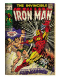 Marvel Comics Retro: The Invincible Iron Man Comic Book Cover No25  Fighting Namor (aged)