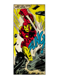 Marvel Comics Retro: The Invincible Iron Man Comic Panel  Fighting  Charging and Smashing (aged)