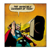 Marvel Comics Retro: Mighty Thor Comic Panel  Throwing Hammer (aged)