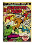 Marvel Comics Retro: Fantastic Four Family Comic Book Cover No166  Thing Vs Hulk (aged)