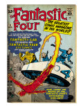 Marvel Comics Retro: Fantastic Four Family Comic Book Cover No3  Flying (aged)