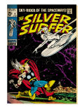Marvel Comics Retro: Silver Surfer Comic Book Cover 4  Thor (aged)
