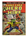 Marvel Comics Retro: Luke Cage  Hero for Hire Comic Book Cover 14  Fighting Big Ben (aged)