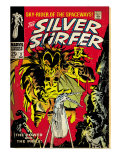 Marvel Comics Retro: Silver Surfer Comic Book Cover 3  Fighting Mephisto (aged)